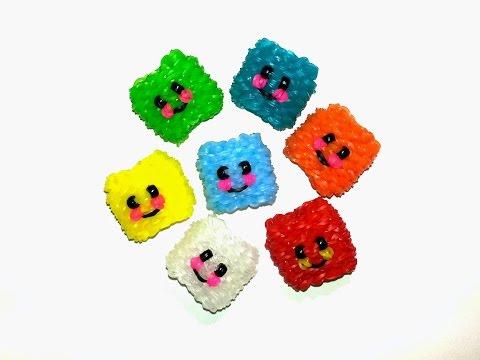 3-D Happy Ice Cube / Happy Jello Tutorial by feelinspiffy (Rainbow Loom)