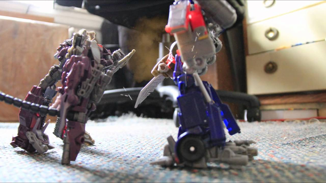 optimus prime vs shockwave stop motion youtube