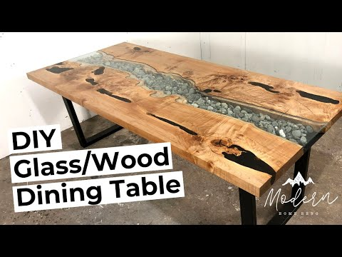 "Diy Glass And Live Edge Wood ""River"" Style Dining Table."