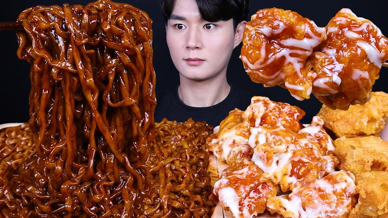 진진짜라 슈프림양념치킨 치킨 먹방ASMR MUKBANG SPICY BLACK BEAN NOODLES & FRIED CHICKEN チキン チャジャンラーメン eating sou