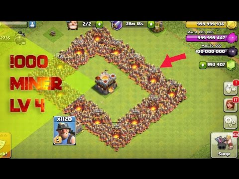 Clash Of Clans - 1000 Miner Attack MUST WATCH!