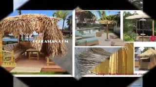 1:mexico Palapas-2 Palapa Umbrellas & 4 Palapa Kit-open-sided Palapa Dwelling Palm Thatch Roof