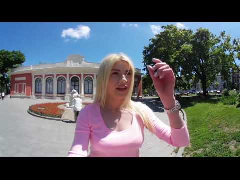 360 video of Ukrainian girl Julia in the center of Odessa