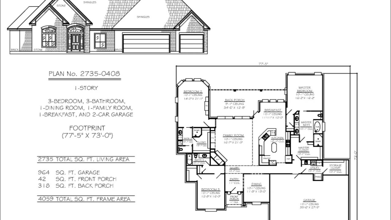 Two bedroom house plans with two car garage youtube for 1 5 car garage plans