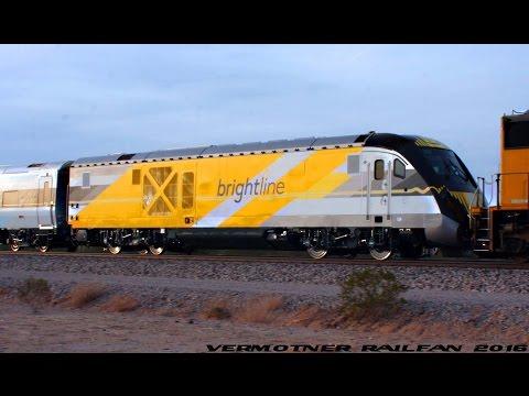 """4K Siemens Brand New """"Brightline"""" Train Passing Through Arizona!"""
