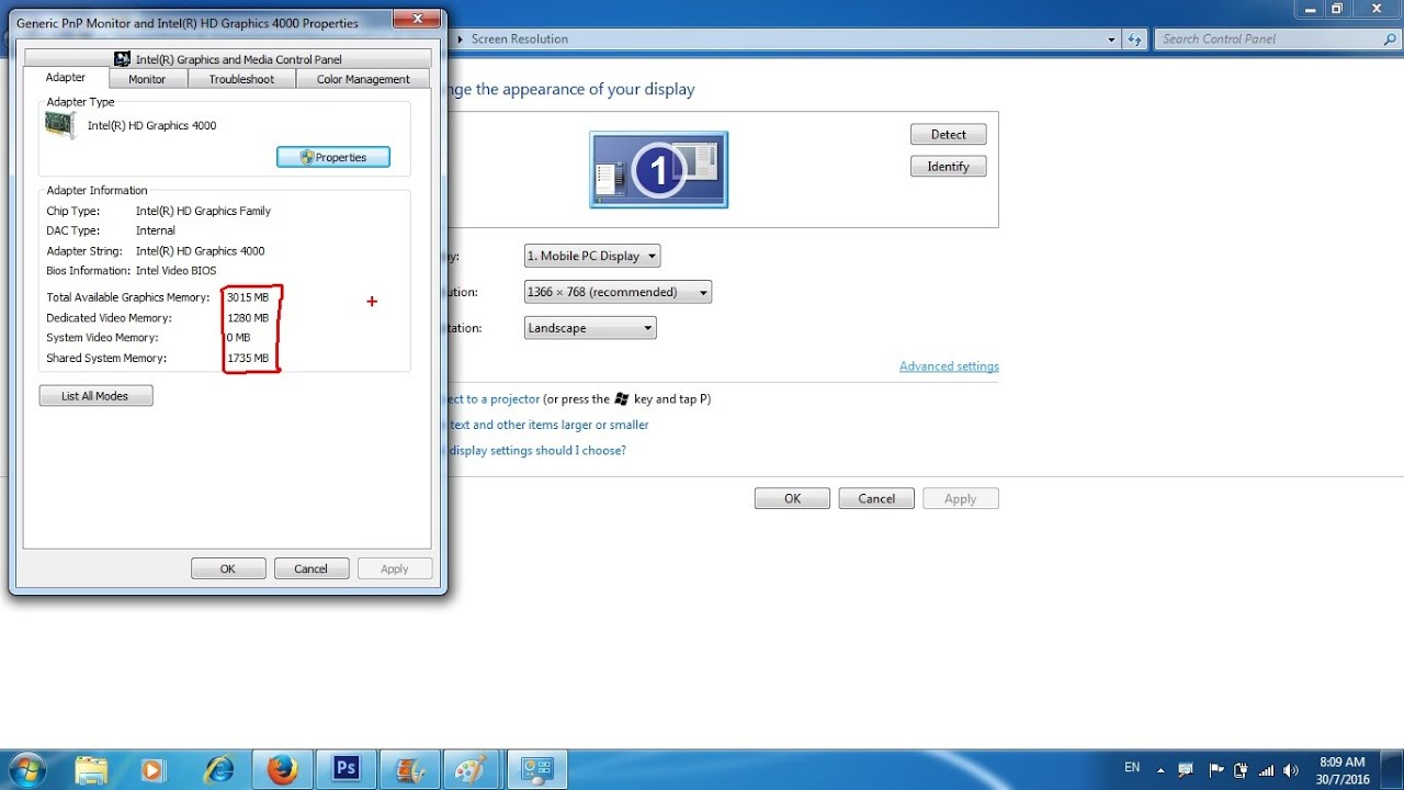 How to know the graphics card Windows 7