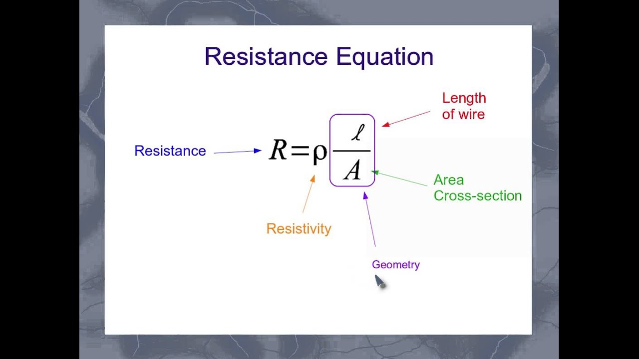 Resistance of copper wire calculator wire center the equation for the resistance of a wire youtube rh youtube com resistance of copper wire formula wire resistance table keyboard keysfo