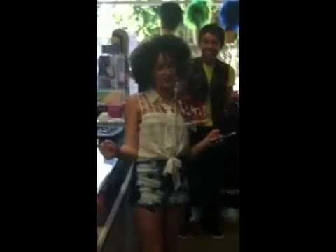 Pretty California girl puts on a wig and talks in her thick New York accent! So Funny!!!