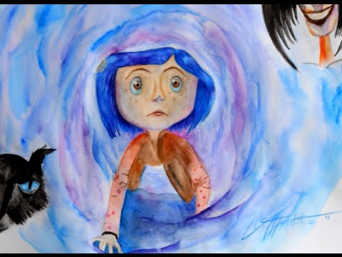 Coraline Fan Art Speed Drawing Painting Youtube