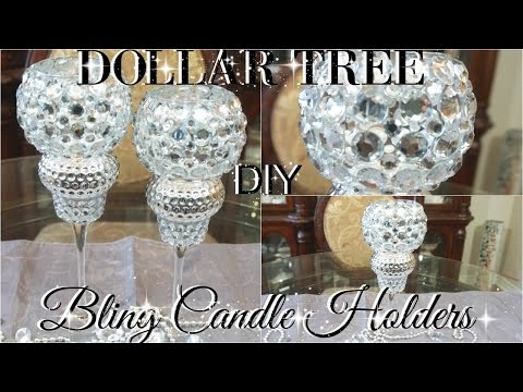 DIY DOLLAR TREE BLING WEDDING CANDLE HOLDERS PETALISBLESS 🌹