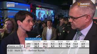 Bundestagswahl 2017: Wahlparty der AfD und u.a. Frauke Petry im Interview am 24.09.2017