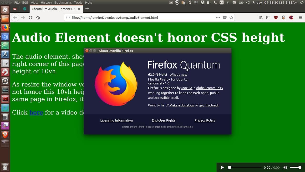 Chromium - Audio Element not honoring CSS height