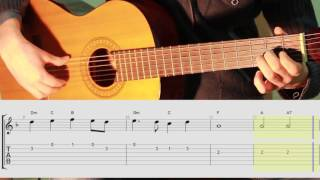 Yesterday Beatles guitar lesson for beginner. Уроки гитары с нотами и табами для начинающих
