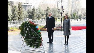 Президент Ильхам Алиев и первая леди Мехрибан Алиева посетили памятник Ходжалинскому геноциду