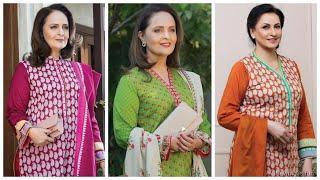 Middle age women kurti design ideas for stitching printed cotton salwar kameez for plus size ladies