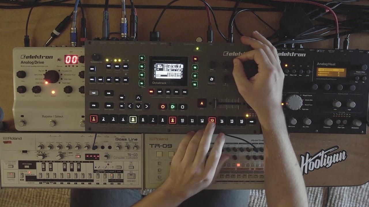 Elektron Octatrack MKII Live resampling the Roland TB03 & TR09