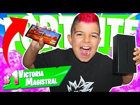 MI PRIMERA VICTORIA EN EL GALAXY NOTE 9 EN FORTNITE!!! Solitario En Móvil