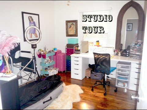 Tour my art makeup studio room for roomspiration youtube for Salon rochepinard tours