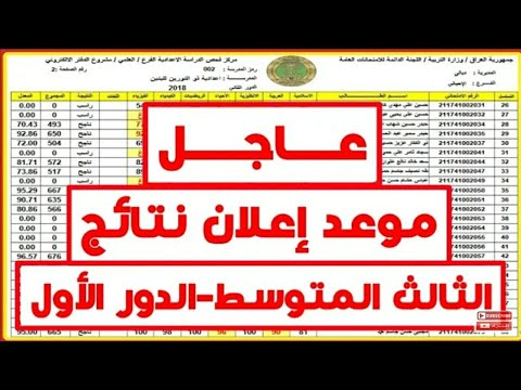 خبر عاجل_موعد اعلان نتائج الثالث متوسط لجميع المحافظات العراقية (كمل الفيديو لل اخير)|2018_2019