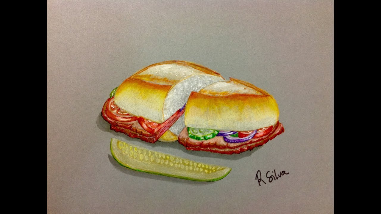 How to Draw a Hiperrealistic Sandwich: Realistic Drawing - YouTube