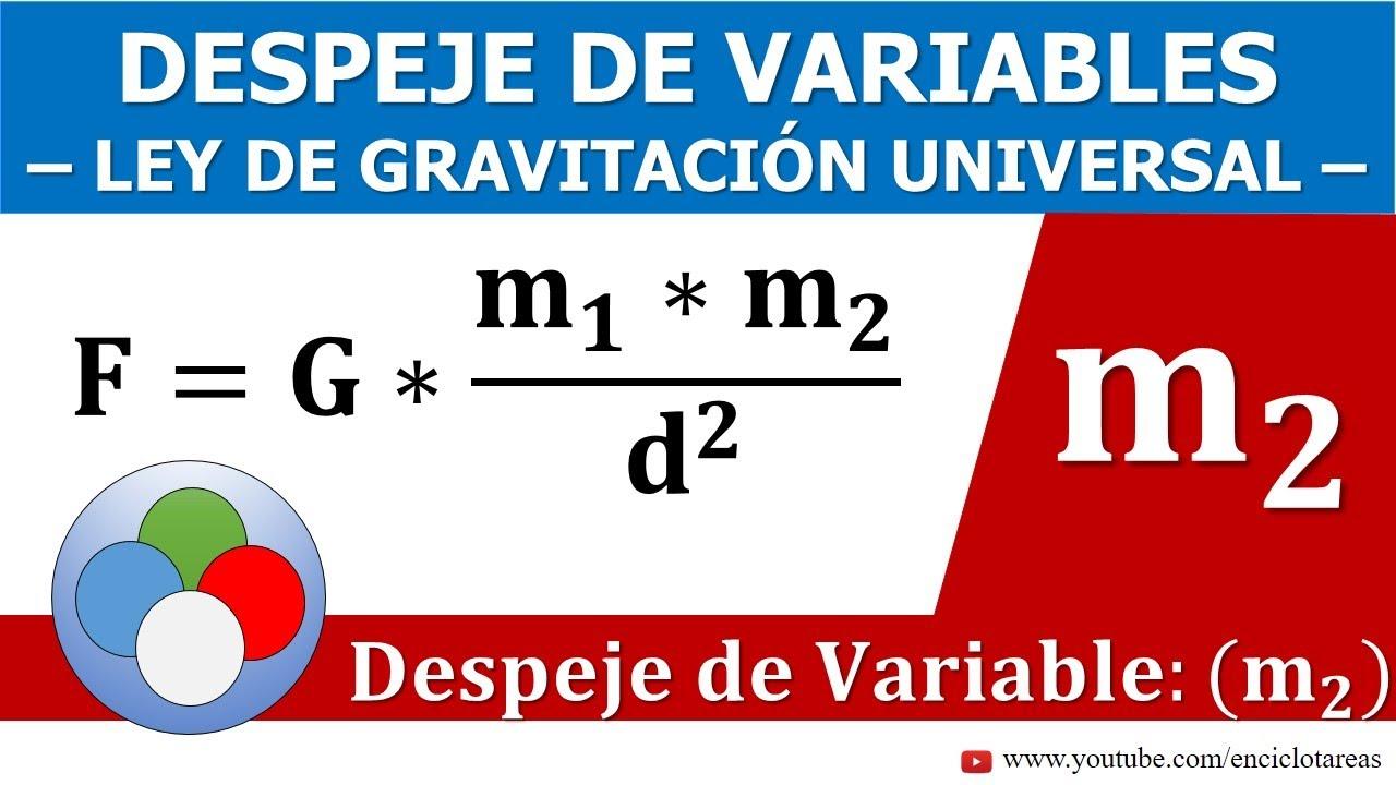 Despeje De Variables Ley De Gravitación Universal Despeje M2 Youtube
