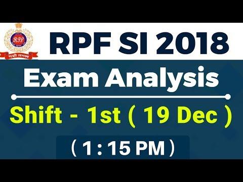 RPF SI 2018 | Exam Analysis | Shift 1st | 19 Dec 2018 | 1:15 PM | by Rahul sir & Vivek Sir