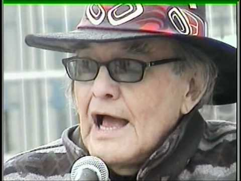 Native American Leader Vernon Bellecourt Speaking at a Chief Wahoo Protest