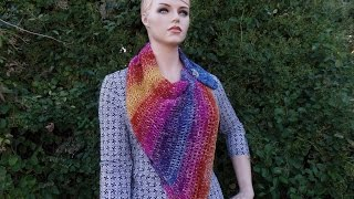 How To Crochet Easy Cowl with Shawl in a Ball Yarn TUTORIAL#350