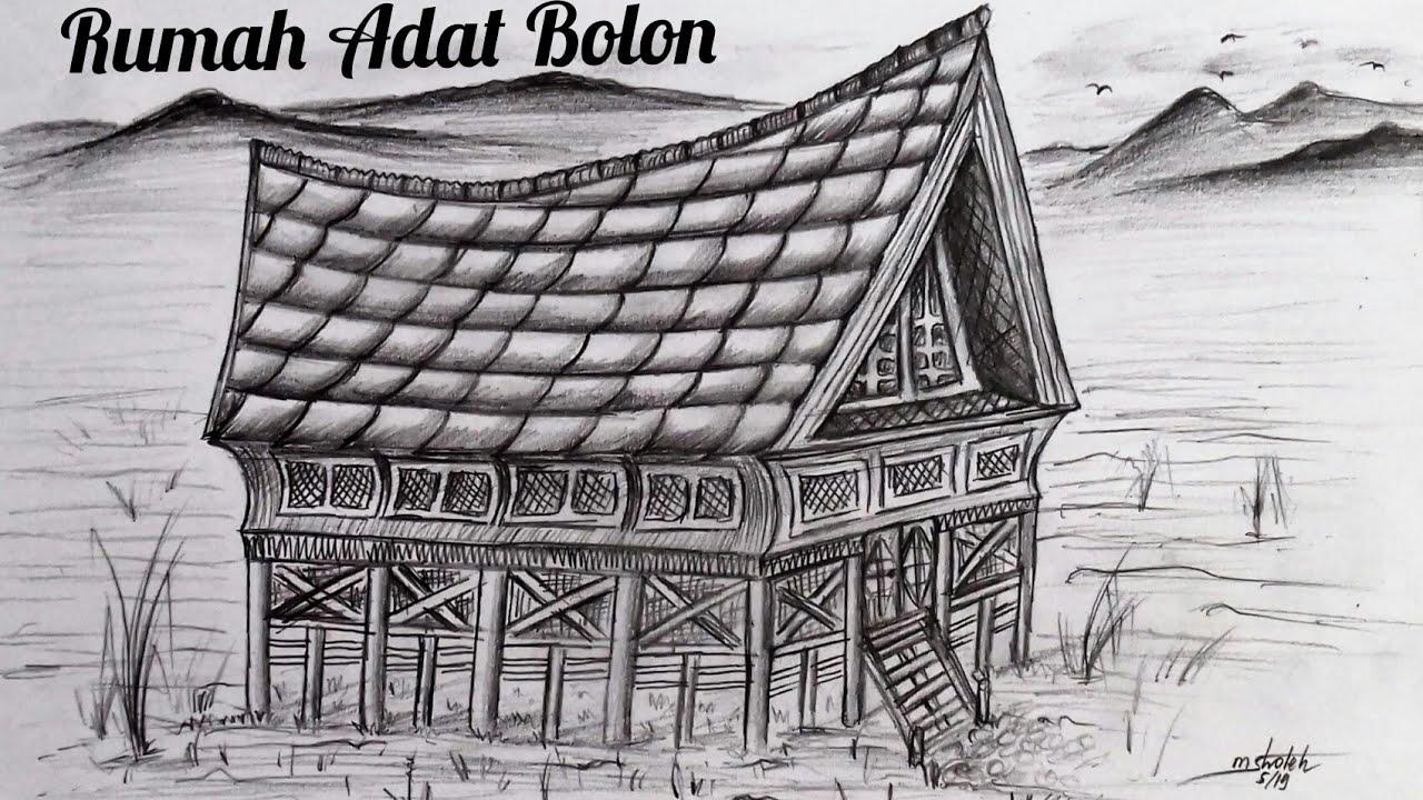 Cara Menggambar Rumah Adat Sumatra Utara Dengan Mudah Drawing