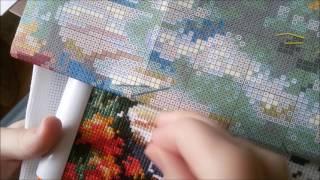Процесс вышивки крестом: экономия ниток // аккуратная изнанка
