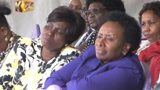 Interior ministry staff condole with the late Nkaissery's family