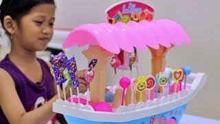 Drama Hana Main Jualan Es Krim Beneran & Permen Lollipop Pakai Mainan Ice Cream Cart Uangnya Beneran