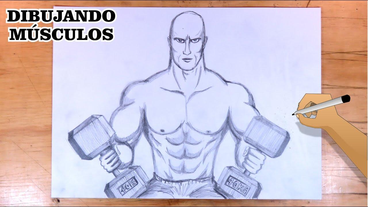 Cómo dibujar un cuerpo musculoso en entrenamiento