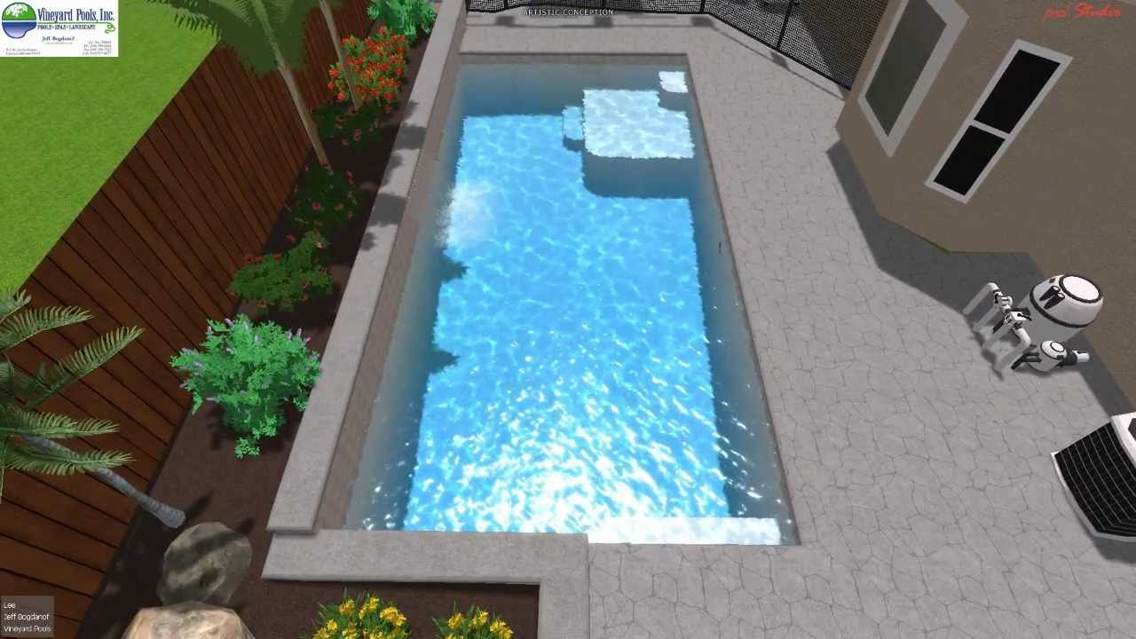 Vineyard pools 3d swimming pool design rectangular youtube for Swimming pool design xls