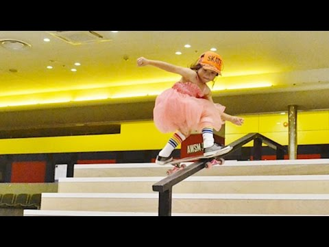 8 YEAR OLD GIRL IS INCREDIBLY TALENTED AT SKATEBOARDING