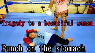 【Punch on the stomach】Showdown with a female kickboxer!from Japan