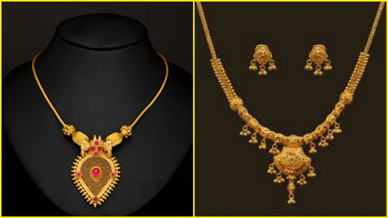 Light Weight Gold Short Necklace Designs - YouTube