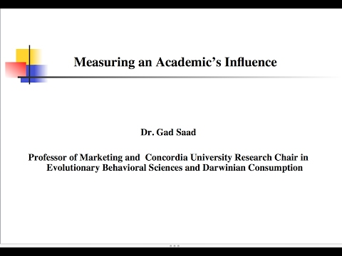 Ways of Measuring an Academic's Productivity and Influence (THE SAAD TRUTH_360)