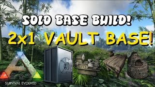 very compact 2x1   solo pvp vault base w fabricator smithy   ark survival evolved base build