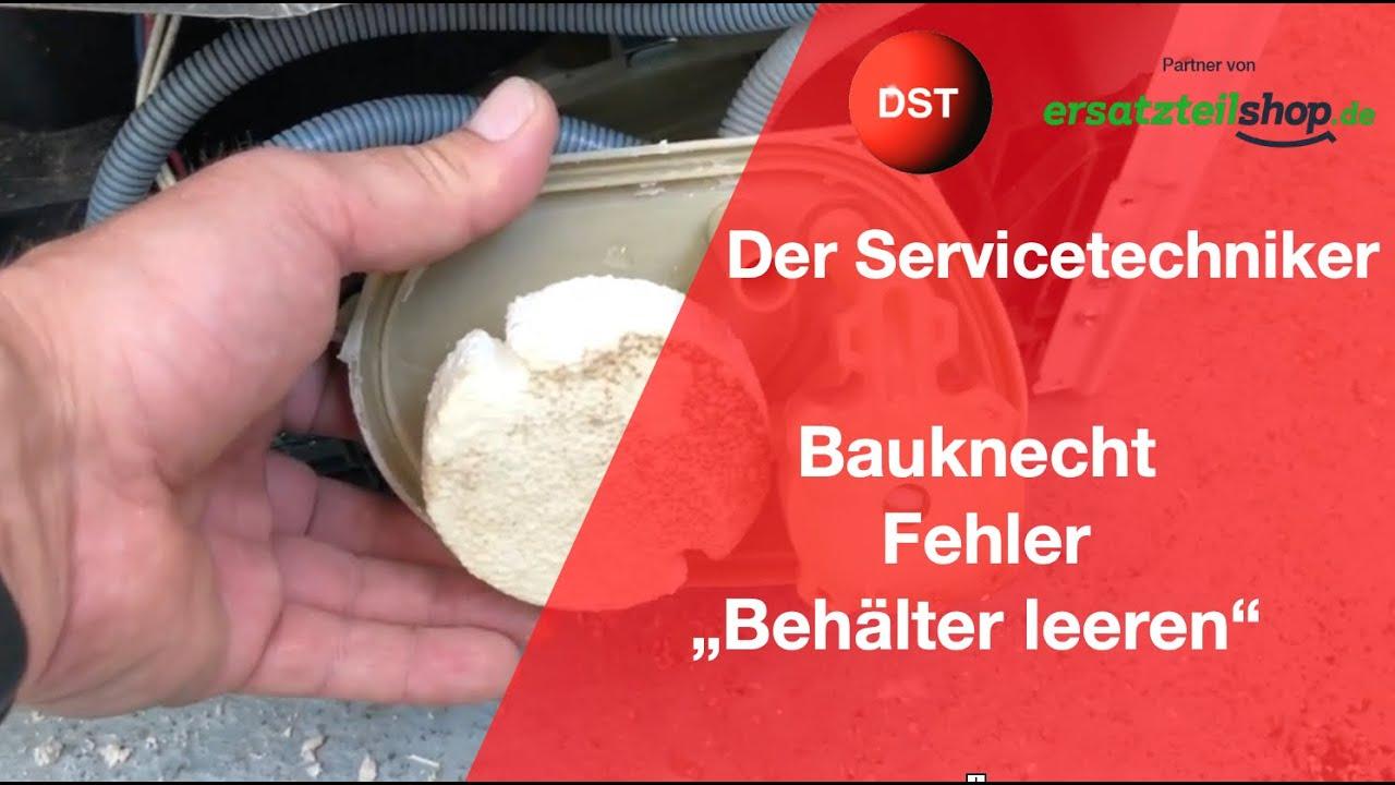 Trockner bauknecht zeigt behälter leeren pumpe reinigen bei älteren