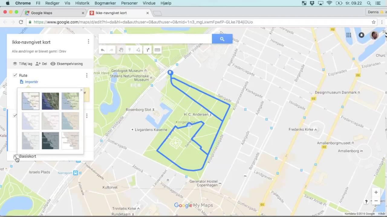 Lav kort med poster og rute i Google Maps