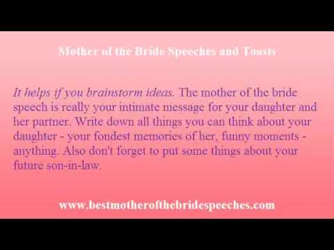 Mother Of Bride Speech - Expression Of A Mother'S Love For Her