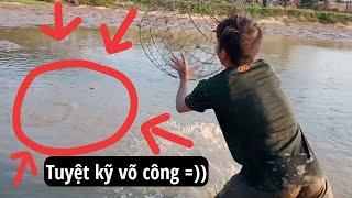 Tát ao bắt cá.. Kéo lưới và chụp cá bằng lồng gà cực bá đạo.(Thánh Ăn Hại)