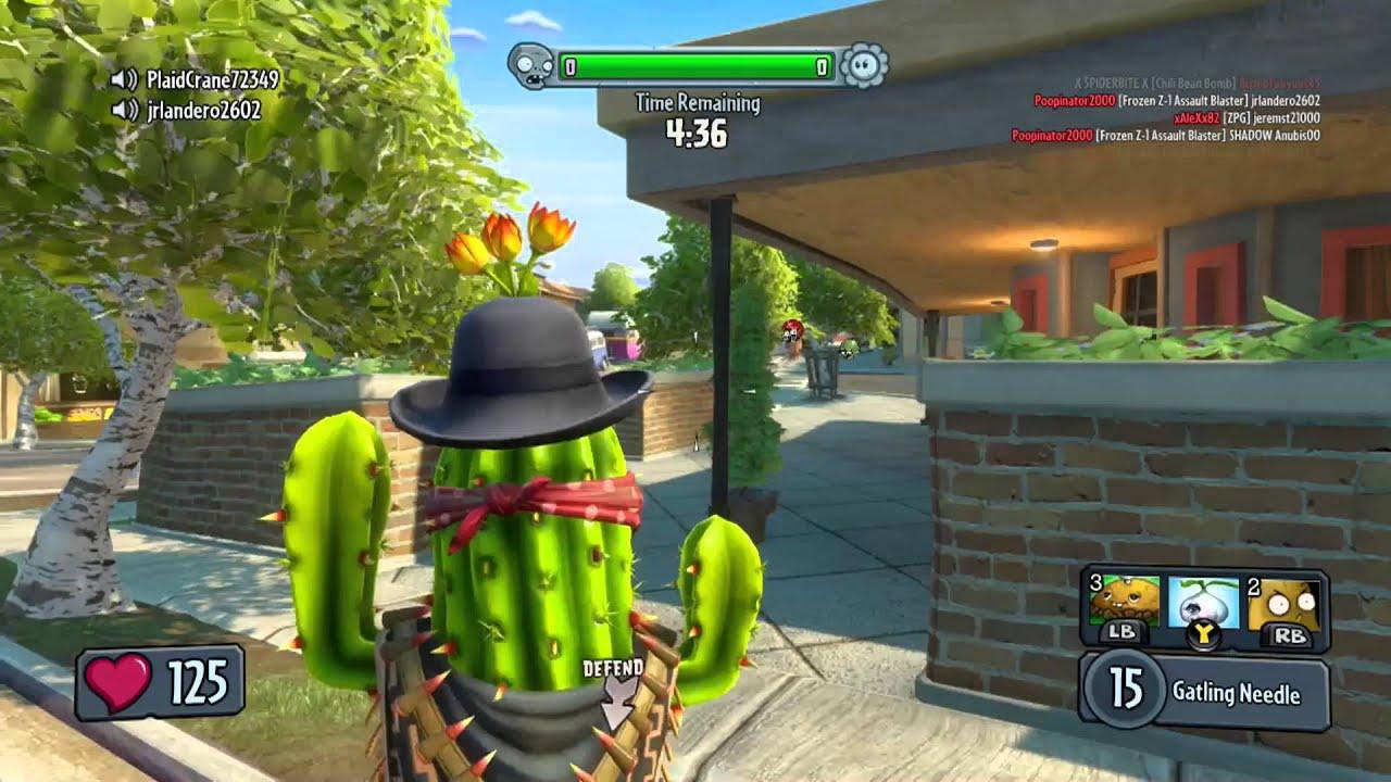 Plants Vs Zombies Garden Warfare Bandit Cactus Gameplay Zomboss Down  Character