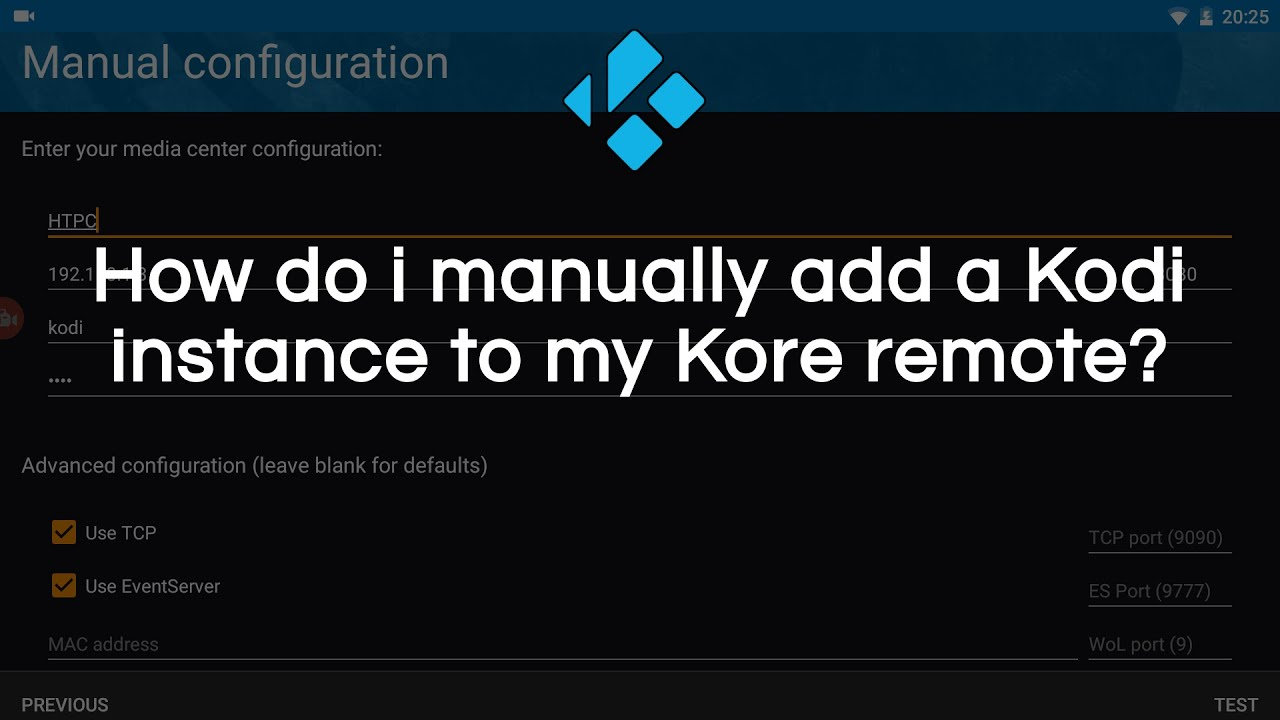 How to manually add Kodi instance to Kore remote control