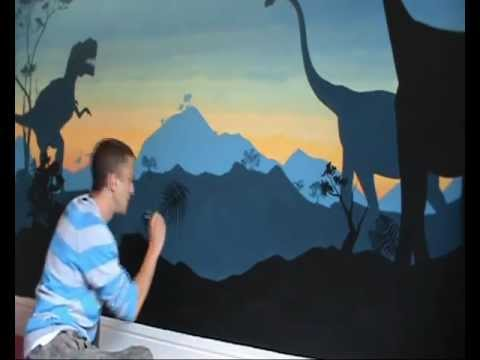 Dinosaurs boys bedroom ideas timelapse youtube for Dinosaur mural ideas