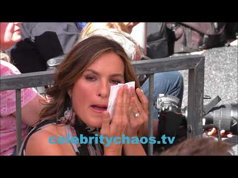 Law and Order SVU actress Mariska Hargitay hanging out at Debra Messing Star Ceremony