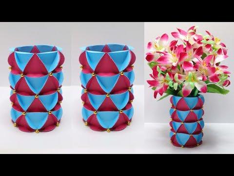 Vas Bunga dari BOTOL BEKAS ! Vas bunga dari kertas dan botol plastik ! Bottle craft ideas