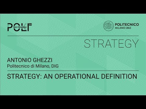 Strategy: an operational definition (Antonio Ghezzi)