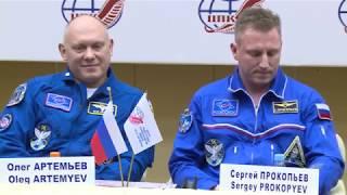 Послеполетная пресс-конференция Олега Артемьева и Сергея Прокопьева в ЦПК